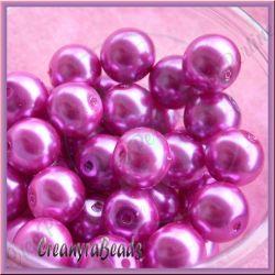 35 Pz  perla in vetro cerato 10 mm Fuchsia