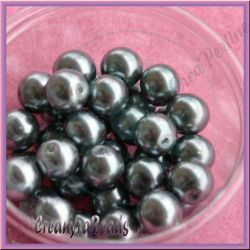 25 Pz  perla in vetro cerato 8 mm Argento