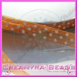 Nastro Organza Arancio pois bianco 10 mm spoletta da mt  10