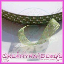 Nastro Organza Verde pois bianco 10 mm spoletta da mt  10