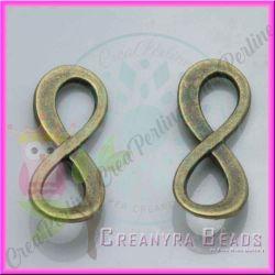 10 Pz ciondolo link infinito bronzo verde 23x8 mm