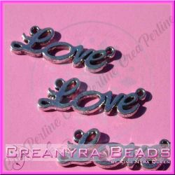 10 Pz Charm  Link LOVE in argento tibetano 33 MM