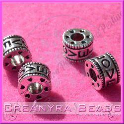 Perla foro largo cilindretto LOVE 3d 11 mm in argento tibetano