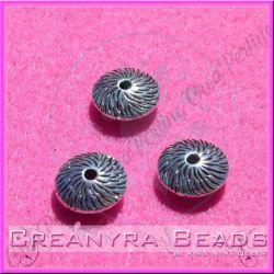 10 Pz Bicono corteccia distanziatore in argento tibetano 11x5 mm
