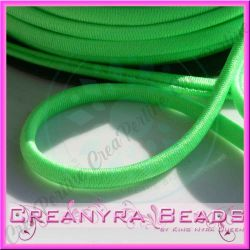 1 Mt Fettuccia elastica tubolare  in Lycra Verde fluo 7139