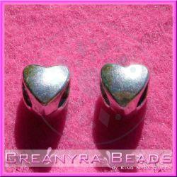 10 Pz Perla foro largo cuore liscio in metallo argentato antico 10 mm