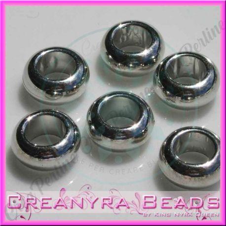 30 Pz Perla foro largo rondella liscia in resina  CCB effetto metallo 10 mm