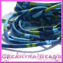 1 Mt Fettuccia elastica tubolare  in Lycra mimetico blu 22