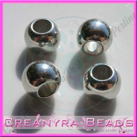 30 Pz Perla foro largo Sfera liscia in resina  CCB effetto metallo 10 mm