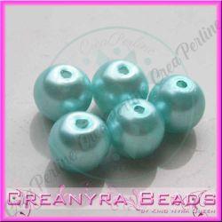 25 Pz  perla in vetro cerato 8 mm azzurro