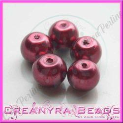 25 Pz  perla in vetro cerato 8 mm rosso bordeaux