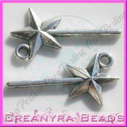 6 Pz Charm Ciondolo  Bacchetta Magica metallo argentato 2,6 cm