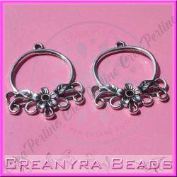 2 Pz base orecchini Candeliere Fiorito in metallo argento antico