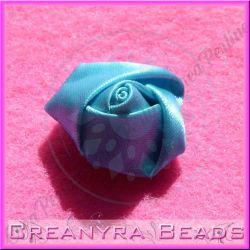 4 Pz Applicazione Bocciolo di rosa colore Turchese doppio raso
