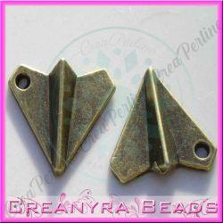 10 Pz Ciondolo tipo aeroplanino di carta metallo bronzo 16x18 mm
