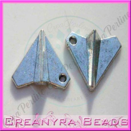 10 Pz Ciondolo tipo aeroplanino metallo argentato 16x18 mm