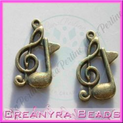 10 Pz charms Ciondolo chiave di violino Nota musicale 20x12 mm in metallo tono bronzo