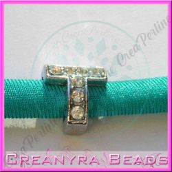 Lettera T strass foro largo in metallo 9x5mm foro da 3 mm
