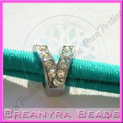 Lettera V strass foro largo in metallo 9x5mm foro da 3 mm