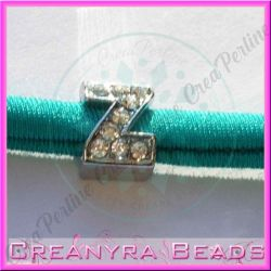Lettera Z strass foro largo in metallo 9x5mm foro da 3 mm