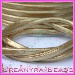 1 Mt Fettuccia elastica tubolare in tessuto metal Oro chiaro 201
