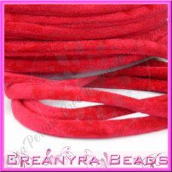1 Mt Fettuccia in velluto elastica tubolare Rosso 006