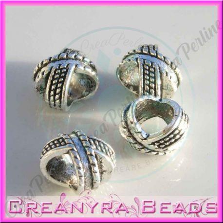 4 Pz perla Foro largo   Intreccio in metallo argento antico