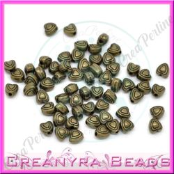20 Pz cuoricino inmetallo bronzo verde 6mm
