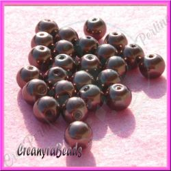 25 Pz  perla in vetro cerato 8 mm  Cioccolato