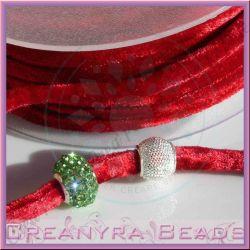 1 Mt Fettuccia in velluto elastica tubolare Rubino 63