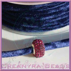1 Mt Fettuccia in velluto elastica tubolare Blu 44