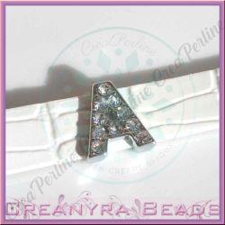 Maxi Lettera slide  Strass A 12 mm (foro 2 mm per cinturino da 10-11 mm)