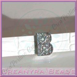 Maxi Lettera slide  Strass B 12 mm (foro 2 mm per cinturino da 10-11 mm)