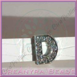 Maxi Lettera slide  Strass D 12 mm (foro 2 mm per cinturino da 10-11 mm)