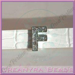 Maxi Lettera slide  Strass F 12 mm (foro 2 mm per cinturino da 10-11 mm)