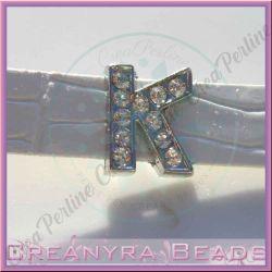 Maxi Lettera slide  Strass K 12 mm (foro 2 mm per cinturino da 10-11 mm)