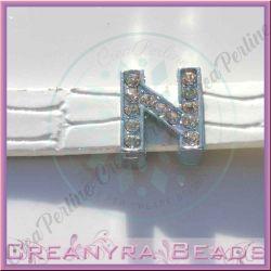 Maxi Lettera slide  Strass N 12 mm (foro 2 mm per cinturino da 10-11 mm)