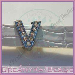Maxi Lettera slide  Strass V 12 mm (foro 2 mm per cinturino da 10-11 mm)