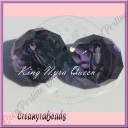 10 pz Rondella briolette mezzo cristallo viola 8 mm