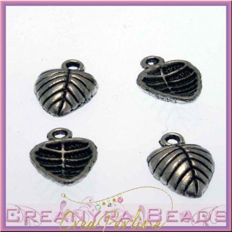 12 Pz Charms ciondolo Foglia cuore in metallo tono argento antico