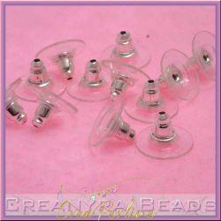 10 Paia Retro orecchini Campana trasparente silver