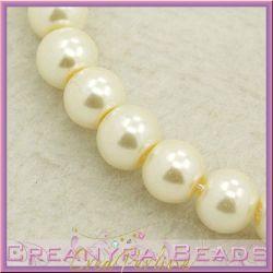 25 Pz  perla in vetro cerato 8 mm panna perlato