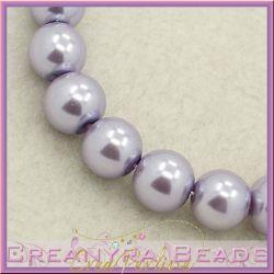 25 Pz  perla in vetro cerato 8 mm glicine perlato