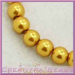 25 Pz  perla in vetro cerato 8 mm oro antico perlato