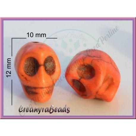 5 Pz Perla teschio  in pietra dura howlite arancio 10x12 mm