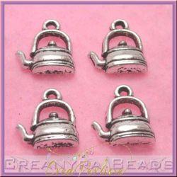 10 Pz Charms ciondolo Teiera in metallo argento tono antico 13x15 mm