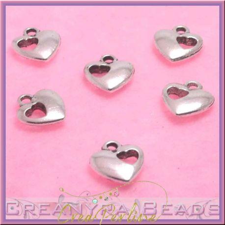 10 Pz Charms ciondolo Cuore nel cuore in  metallo argento tono antico 12x12mm