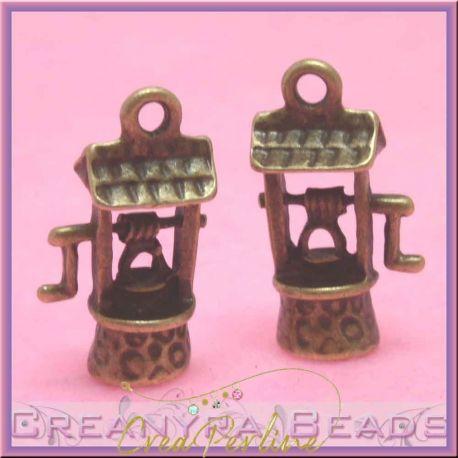 Charms ciondolo pozzo dei desideri bronzato 22x12 mm