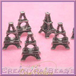 Perla foro largo torre eiffel in metallo tono antico 17mm