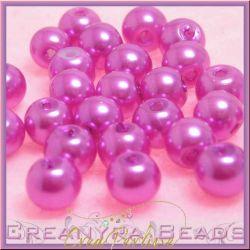 35 Pz  perla in vetro cerato 6 mm Fuchsia perlato